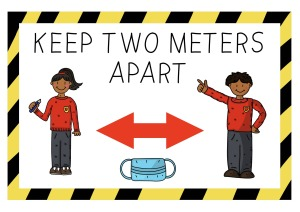 image of two schoolchildren with a double-headed arrow between them and a mask below the arrow.