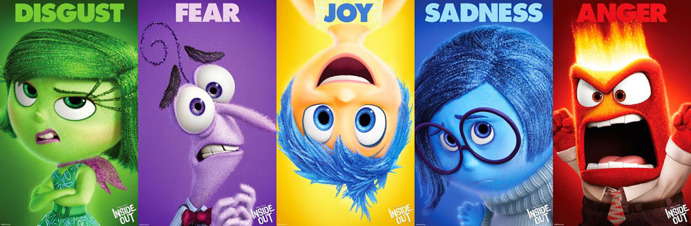 Five emotion characters from Inside Out: Disgust, Fear, Joy, Sadness, Anger