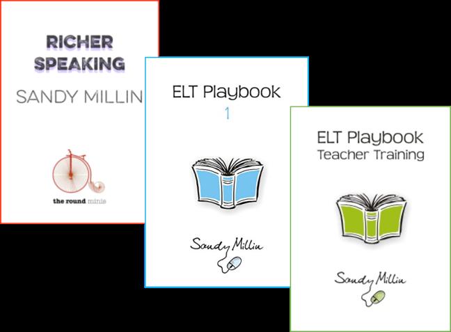 Covers of Richer Speaking, ELT Playbook 1, ELT Playbook Teacher Training